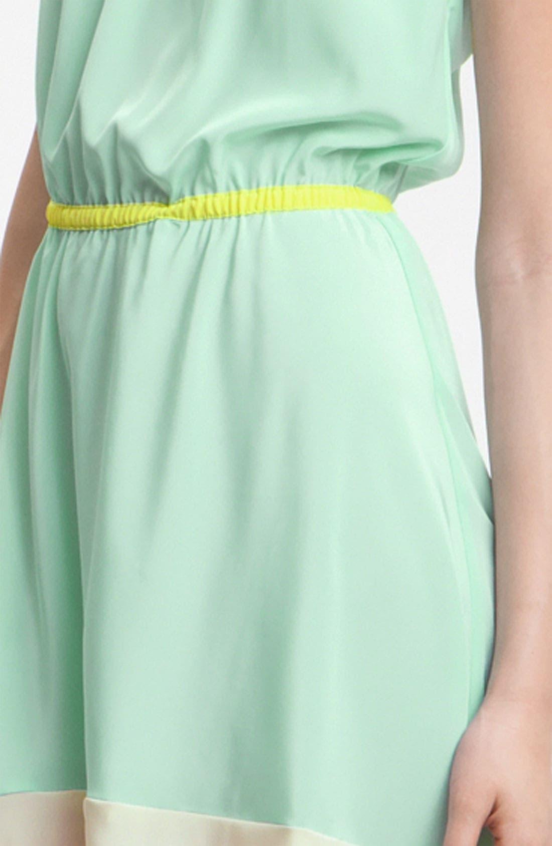 ,                             Colorblock Asymmetrical Hem Dress,                             Alternate thumbnail 3, color,                             400