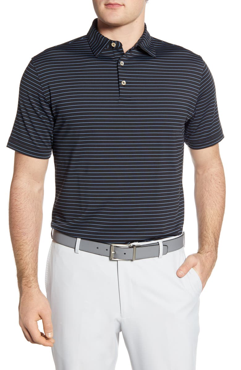PETER MILLAR Crafty Stripe Stretch Polo, Main, color, BLACK
