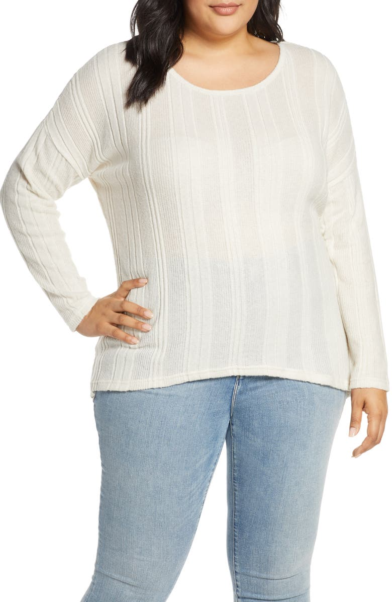 CASLON<SUP>®</SUP> Cozy Ribbed Top, Main, color, BEIGE IVORY MARL