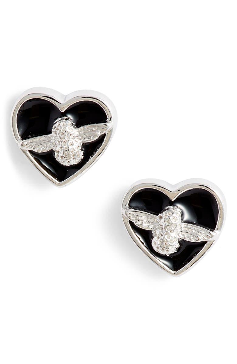 OLIVIA BURTON Love Bee Stud Earrings, Main, color, BLACK/ SILVER