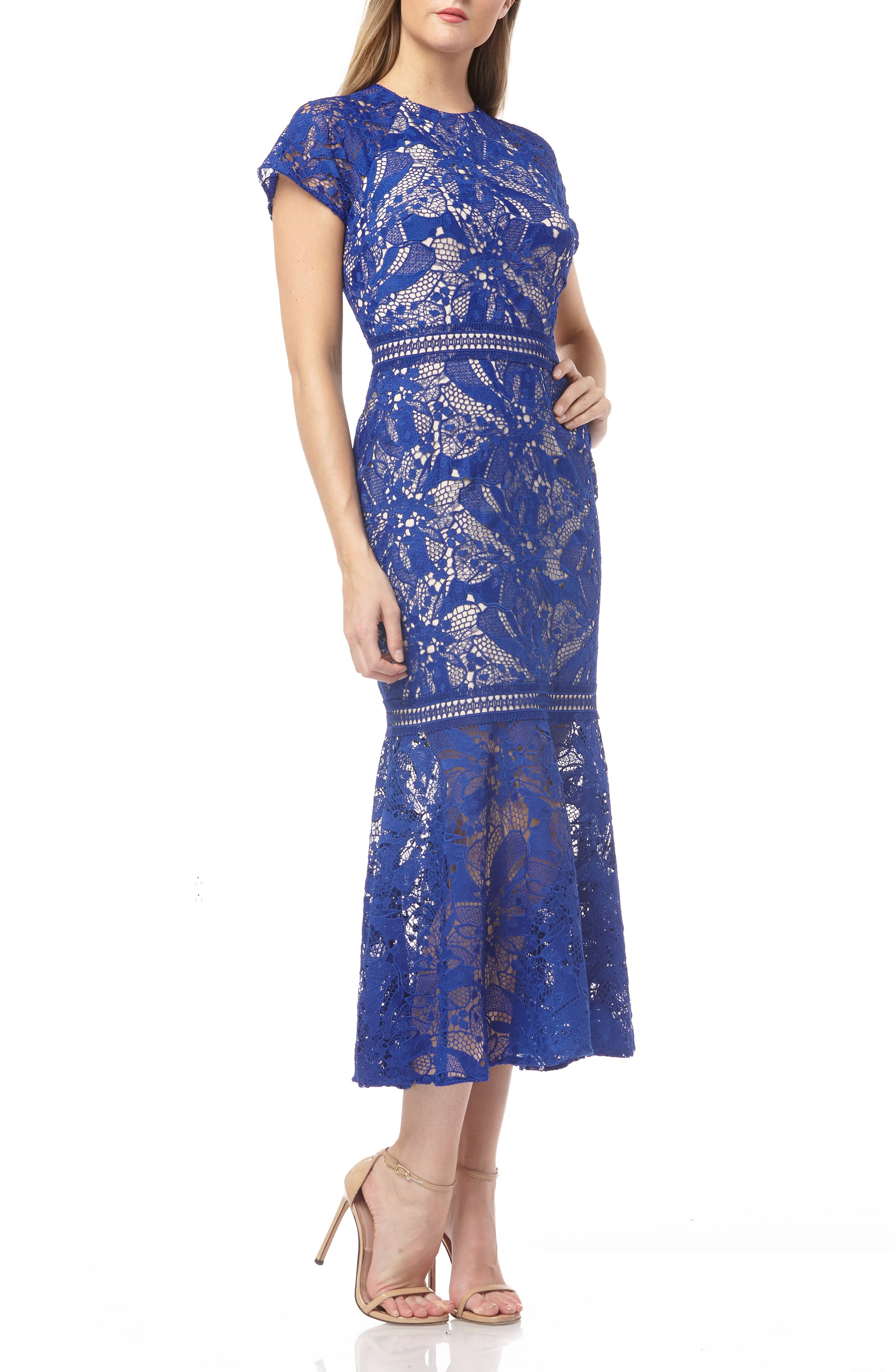 Kay Unger Lace Mermaid Cocktail Dress, Blue
