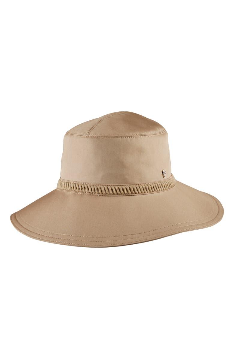 HELEN KAMINSKI Francine Water Resistant Wide Brim Hat, Main, color, CAMEL