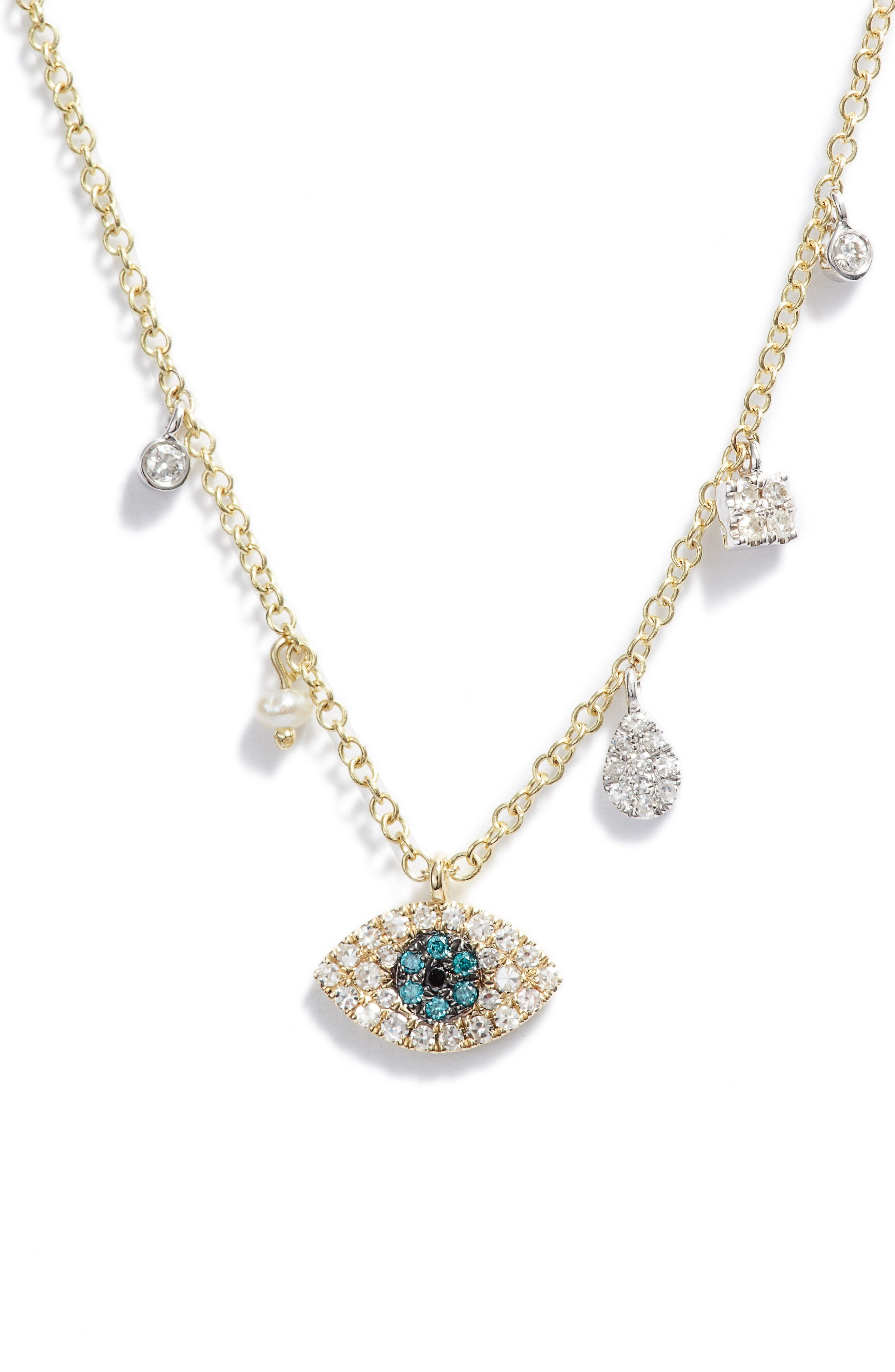 Pave Diamond Evil Eye Pendant Necklace