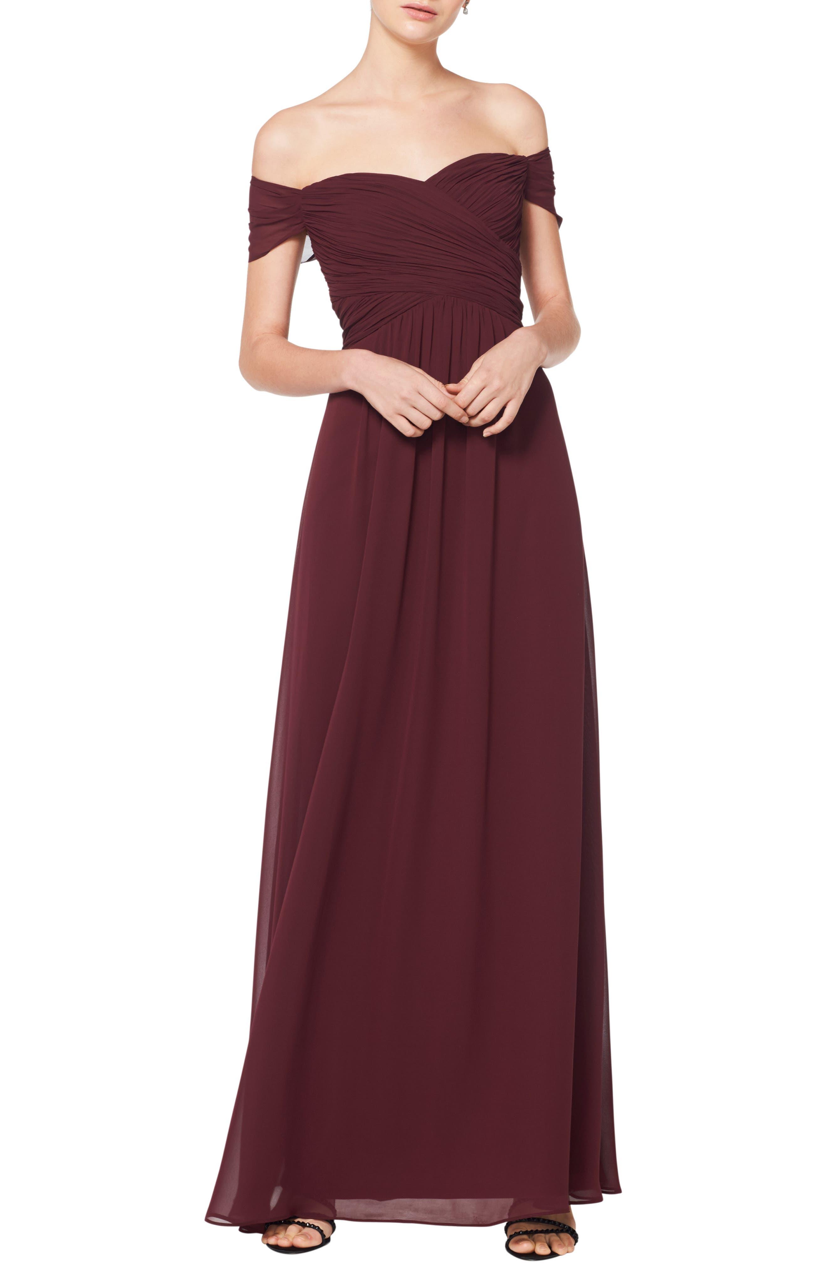 #levkoff Off The Shoulder Ruched Bodice Chiffon Evening Dress, Burgundy