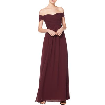 #levkoff Off The Shoulder Ruched Bodice Chiffon Evening Dress, Burgundy