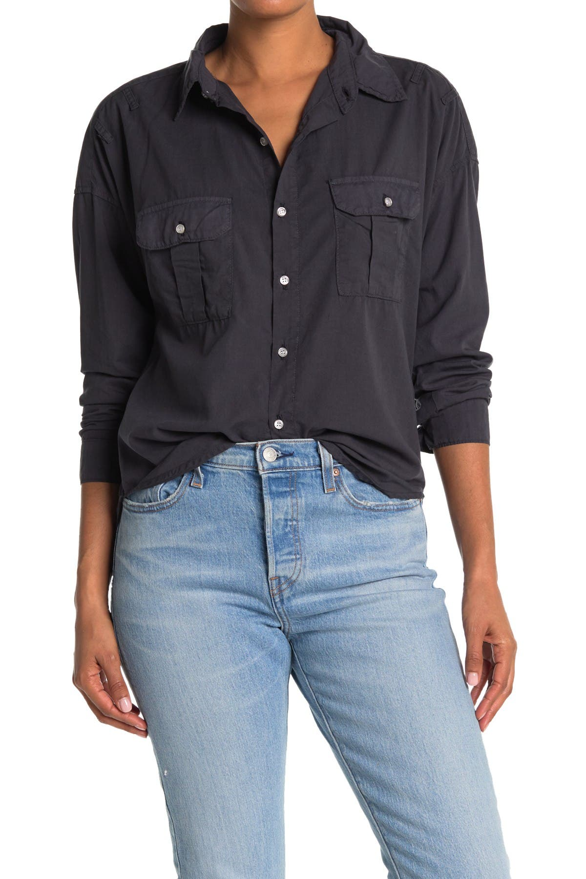 Image of NSF CLOTHING Johnna Long Sleeve Pocket Button Up