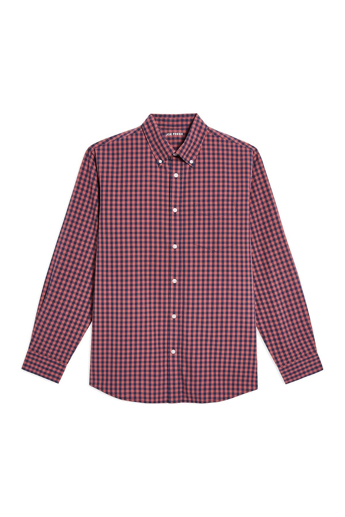 Image of Joe Fresh Gingham Print Long Sleeve Shirt