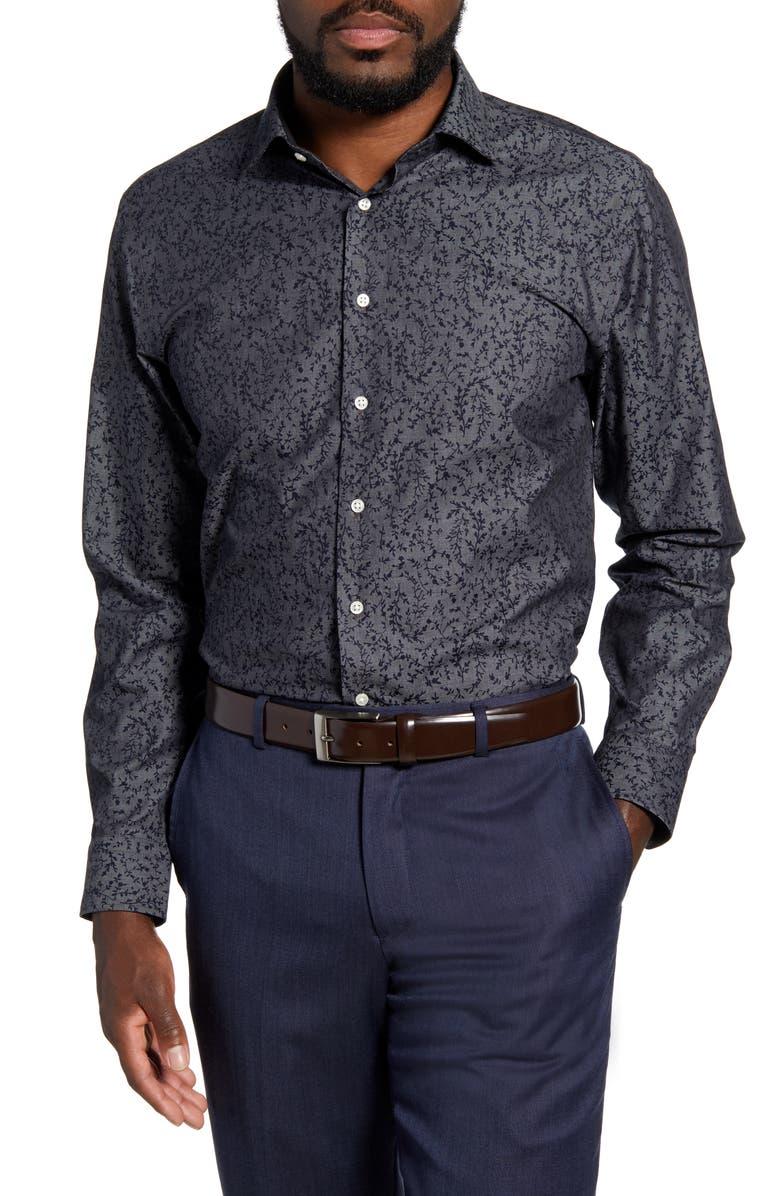 NORDSTROM MEN'S SHOP Trim Fit Non-Iron Dress Shirt, Main, color, 420