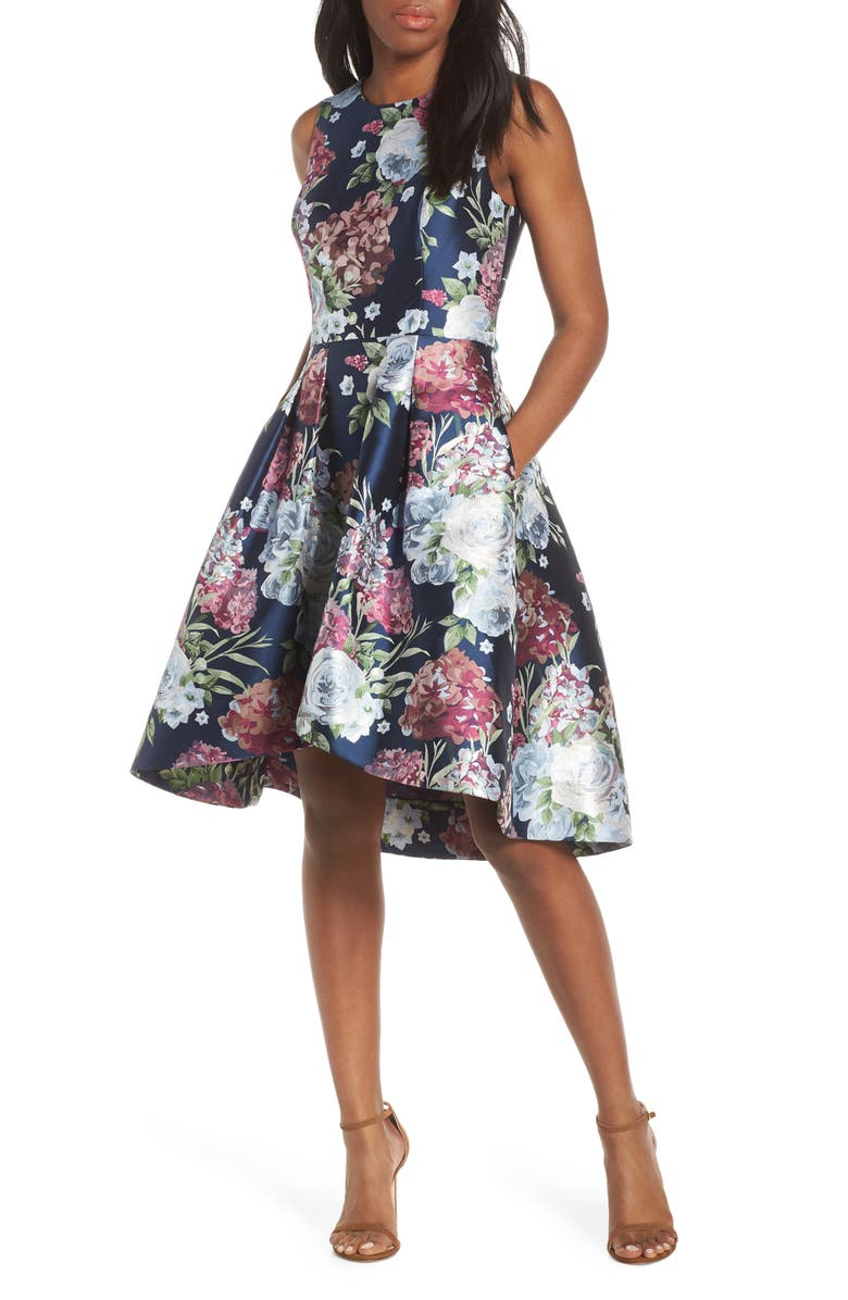 Eliza J Floral Jacquard Fit Flare Dress