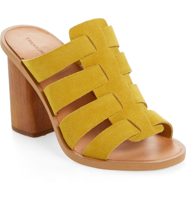 TREASURE & BOND Aleeya Slide Sandal, Main, color, YELLOW SUEDE
