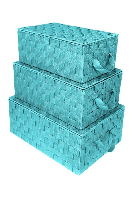 Image of Sorbus Aqua Woven Storage Basket - Set of 3