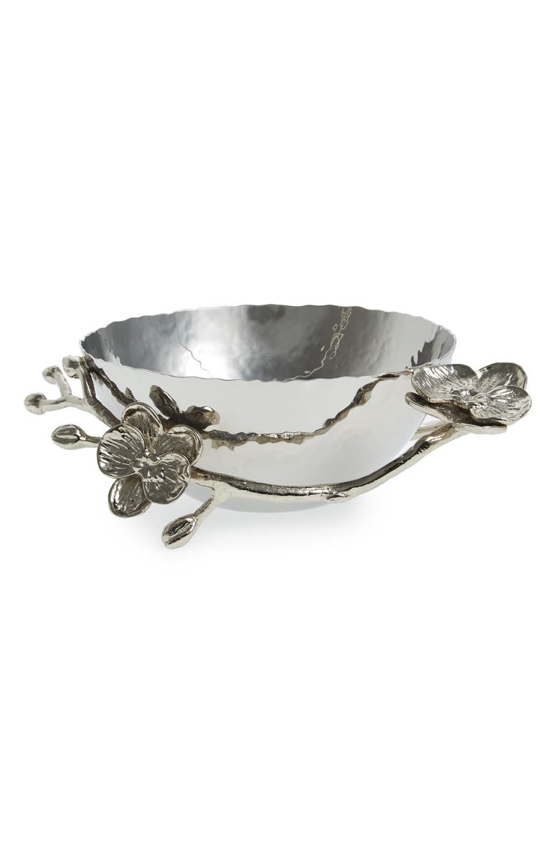 MICHAEL ARAM White Orchid Nut Bowl, Main, color, SILVER