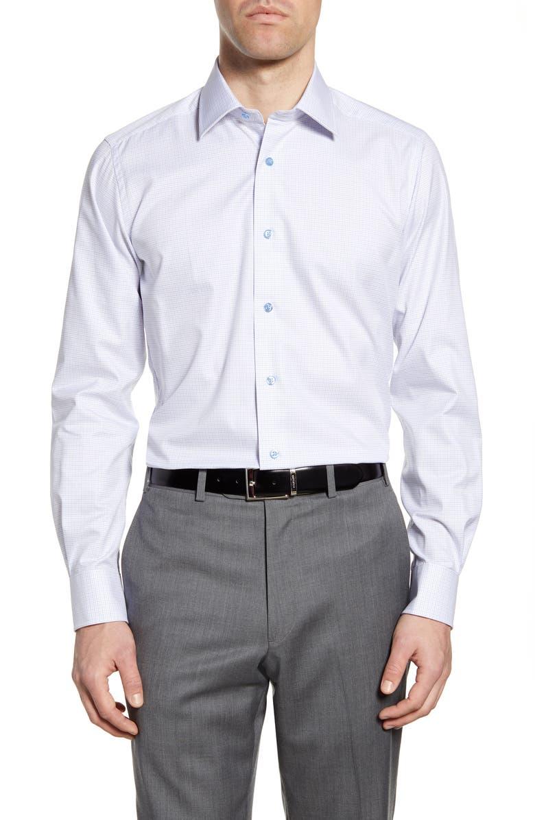 DAVID DONAHUE Trim Fit Check Dress Shirt, Main, color, WHITE/ DUNE