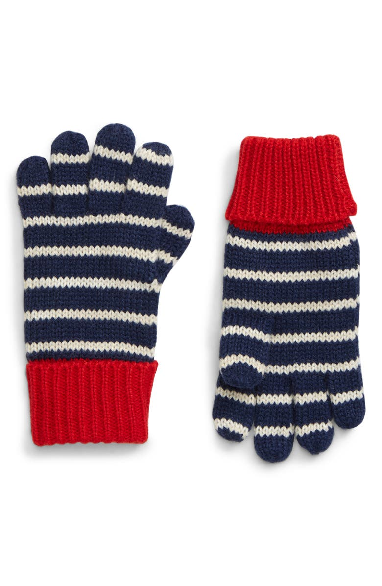 MINI BODEN Knit Gloves, Main, color, BLU STARBOARD BLUE/ ECRU MARL