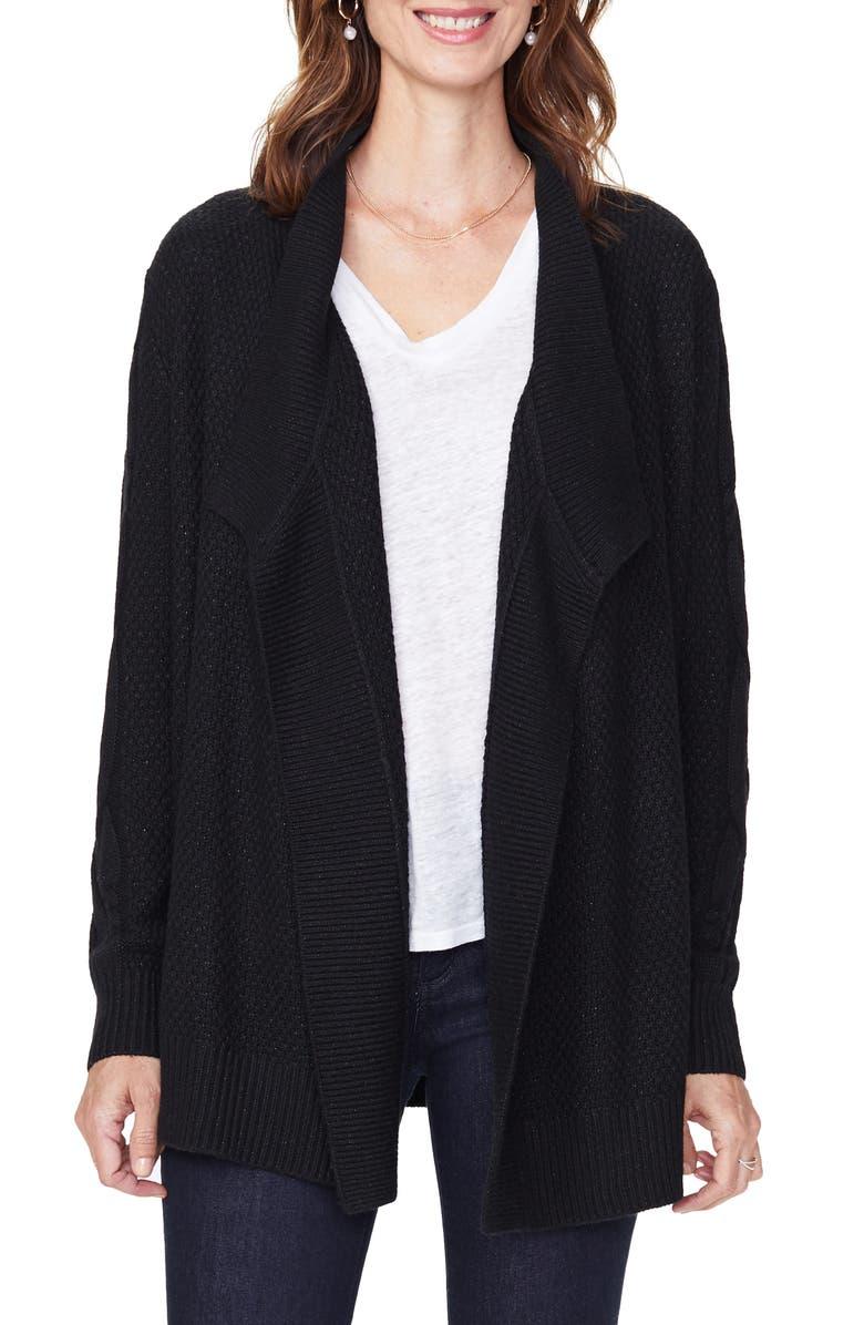 NYDJ Draped Cardigan, Main, color, BLACK
