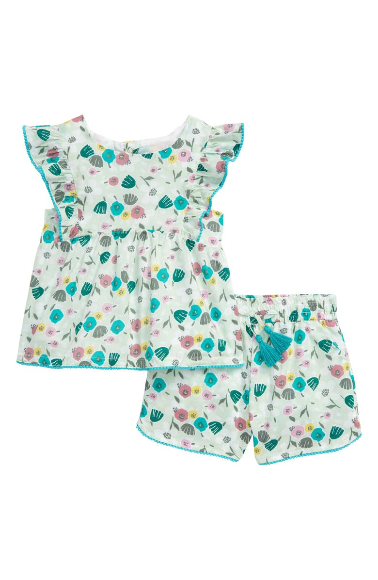 PEEK ESSENTIALS Sofia Matisse Floral Print Flutter Sleeve Top & Shorts Set, Main, color, PRINT