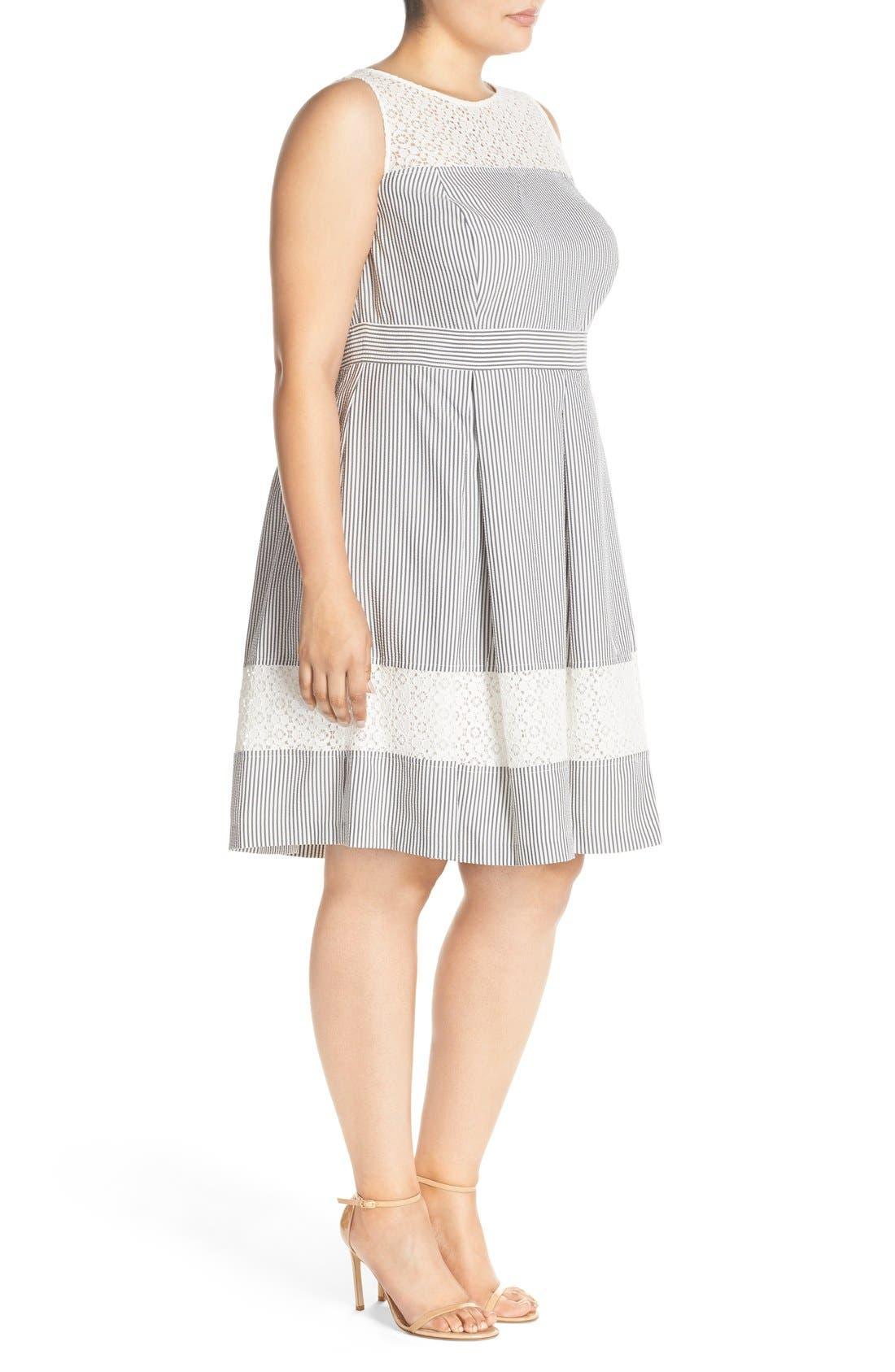 ,                             Lace & Seersucker Fit & Flare Dress,                             Alternate thumbnail 4, color,                             020