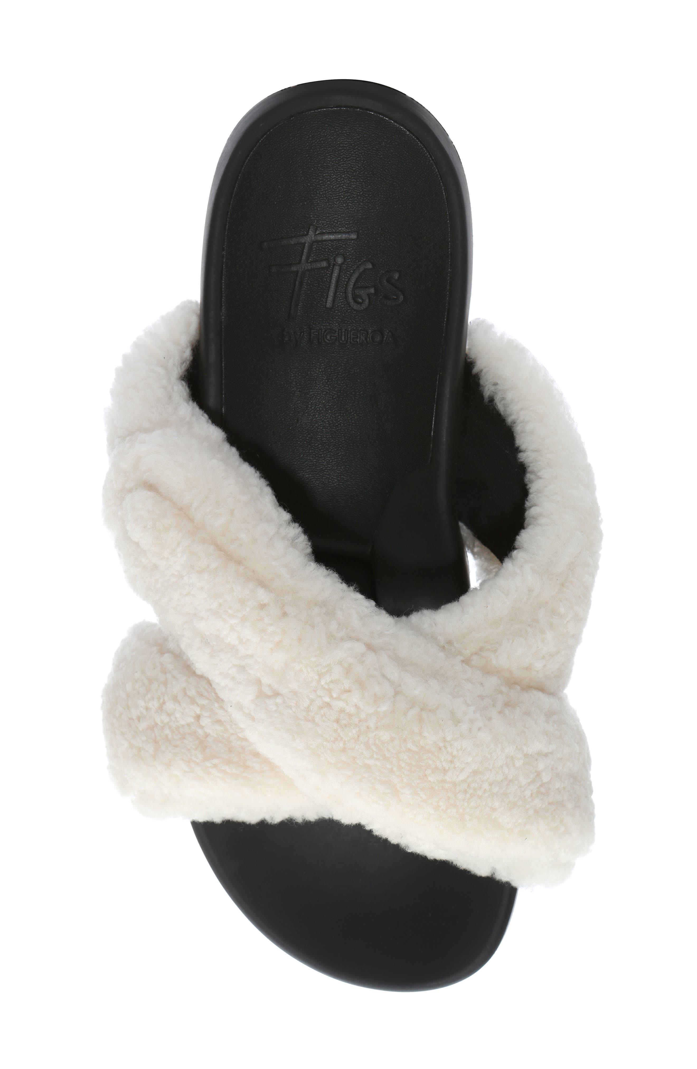,                             Figomatic Genuine Shearling Slide Sandal,                             Alternate thumbnail 5, color,                             NUDE SHEARLING