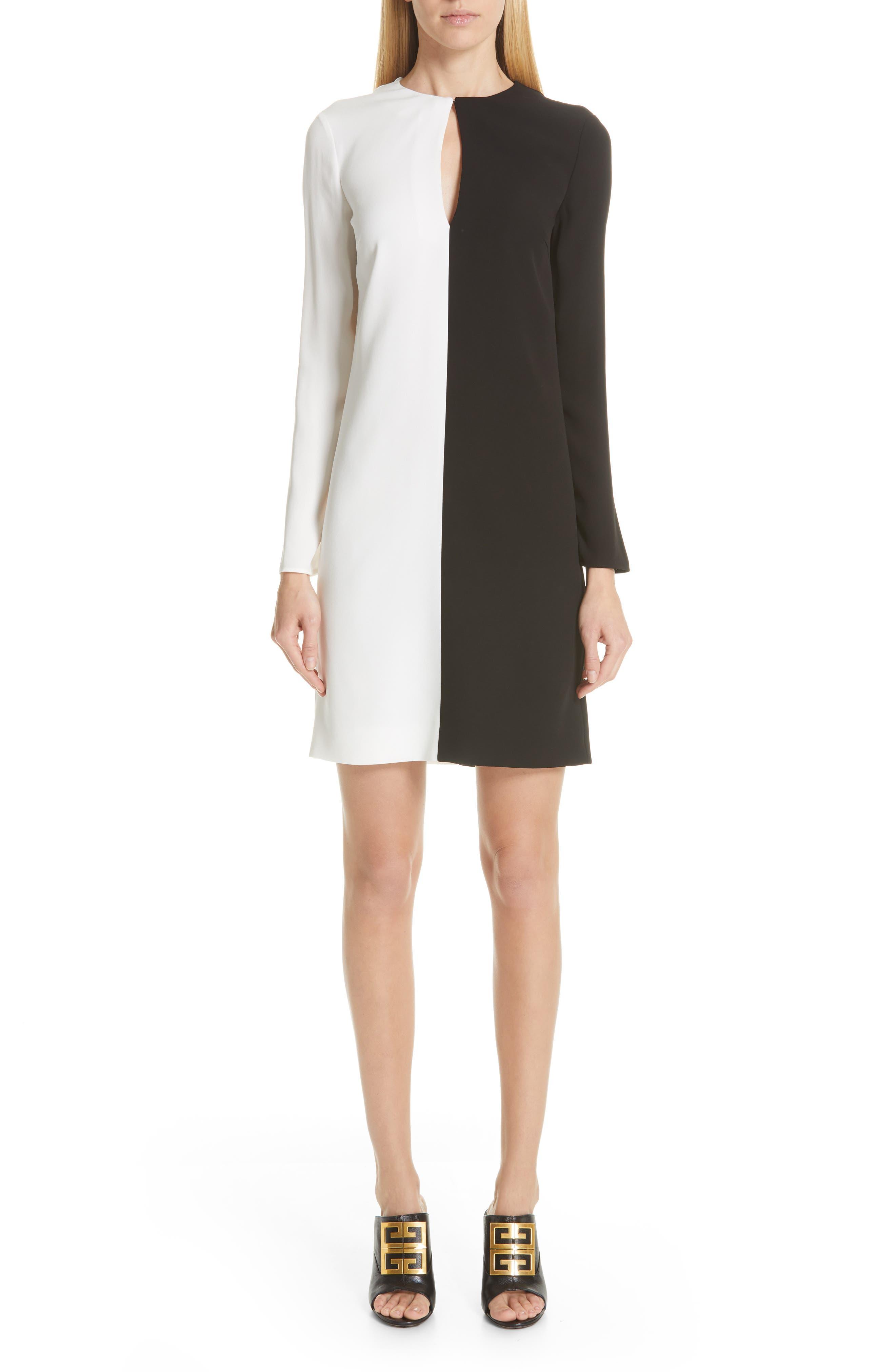 Givenchy Asymmetrical Bicolor Dress, 4 FR - Black