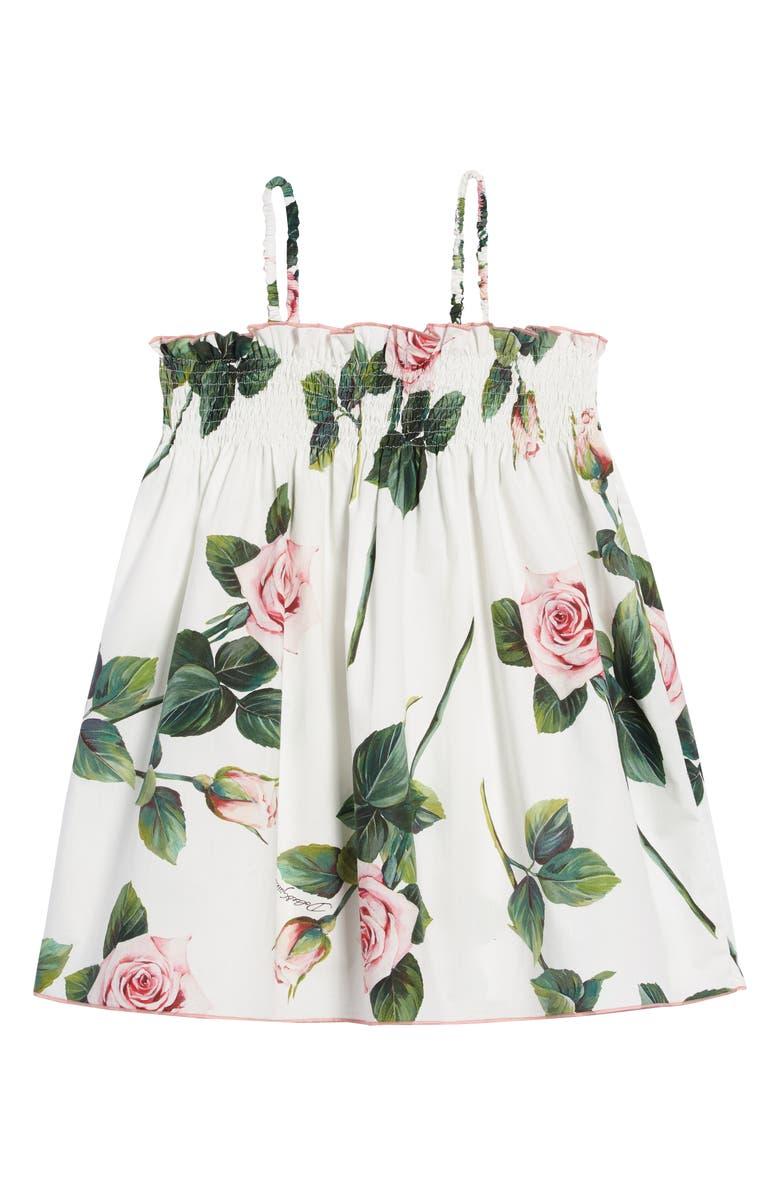 DOLCE&GABBANA Floral Fit & Flare Dress, Main, color, ROSE ROSA FDO.PANNA