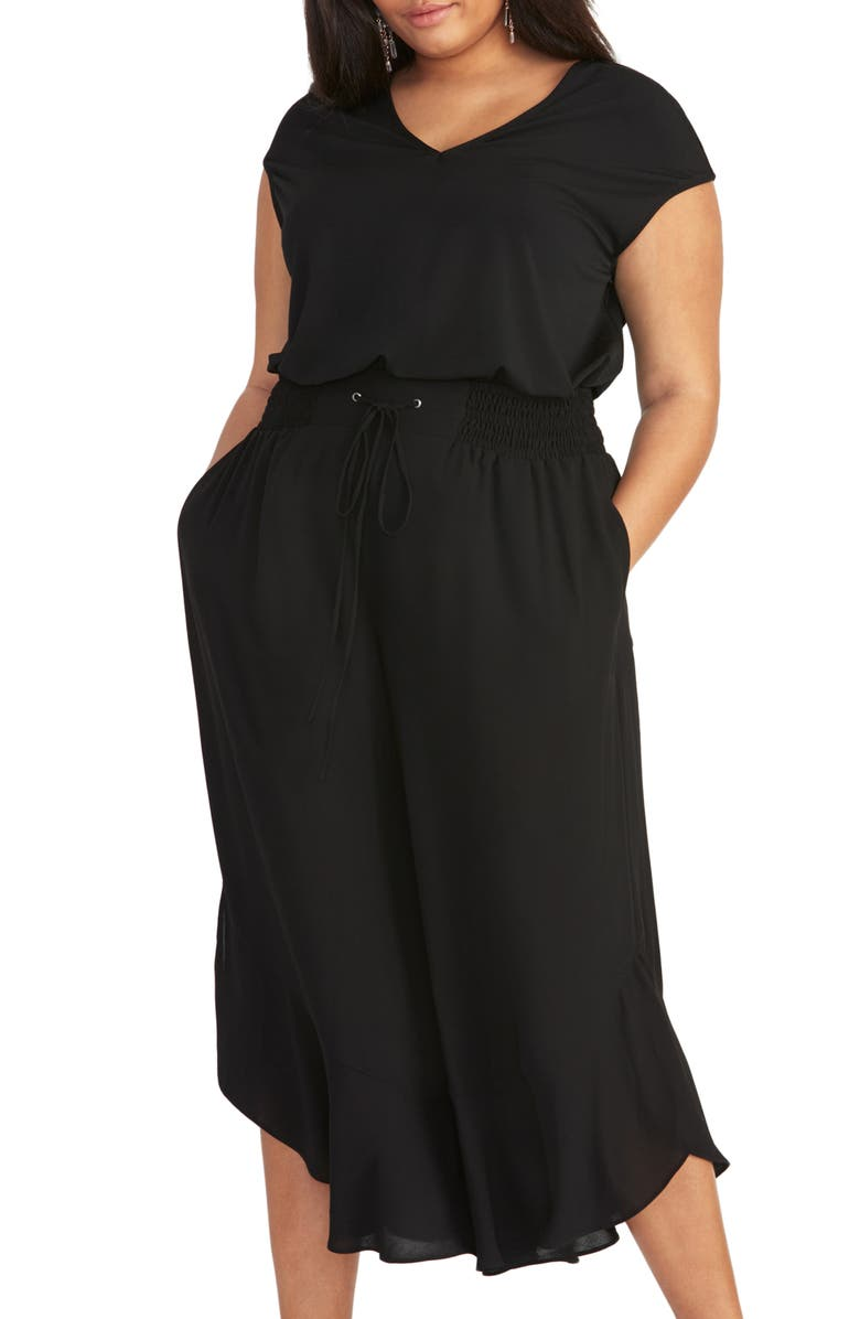 RACHEL RACHEL ROY Giorgia Ruffle Wide Leg Pants, Main, color, BLACK