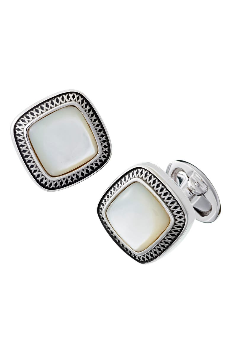 LINK UP Mother-of-Pearl Cuff Links, Main, color, SILVER