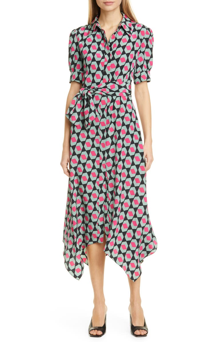 DVF Kendyl Handkerchief Hem Print Silk Midi Shirtdress, Main, color, HEXAGON BLACK
