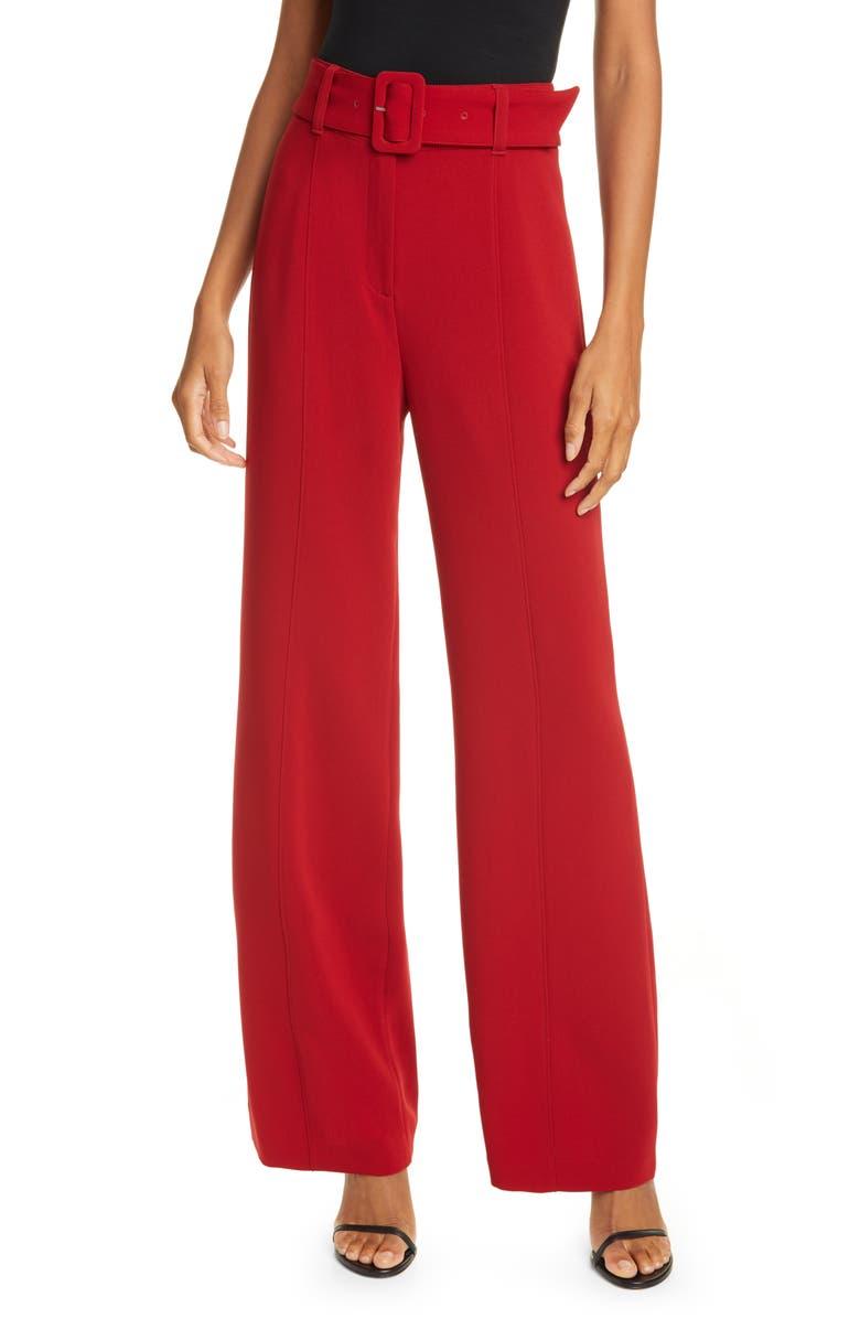 CINQ À SEPT Eliza High Waist Belted Crepe Pants, Main, color, SCARLET