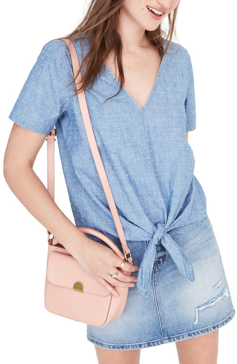 MADEWELL Tie Front Chambray Top, Main, color, 400