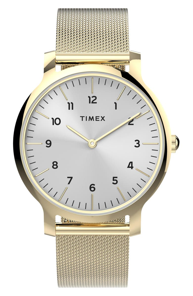 TIMEX<SUP>®</SUP> Norway Mesh Strap Watch, 34mm, Main, color, GOLD/ SILVER/ GOLD