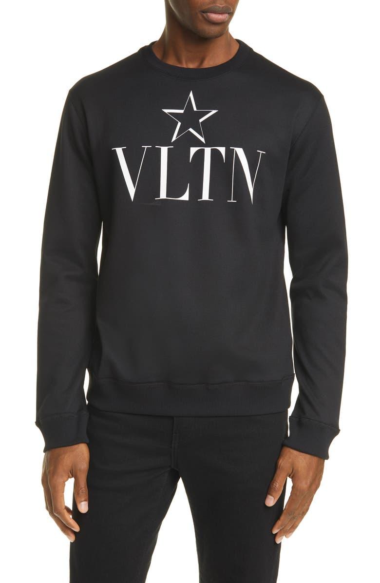VALENTINO Felpa VLTN Star Jersey Sweatshirt, Main, color, BLACK/ WHITE