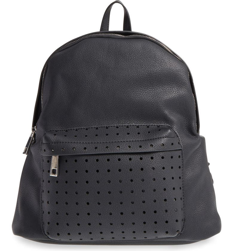 STREET LEVEL Perforated Faux Leather Backpack, Main, color, 001