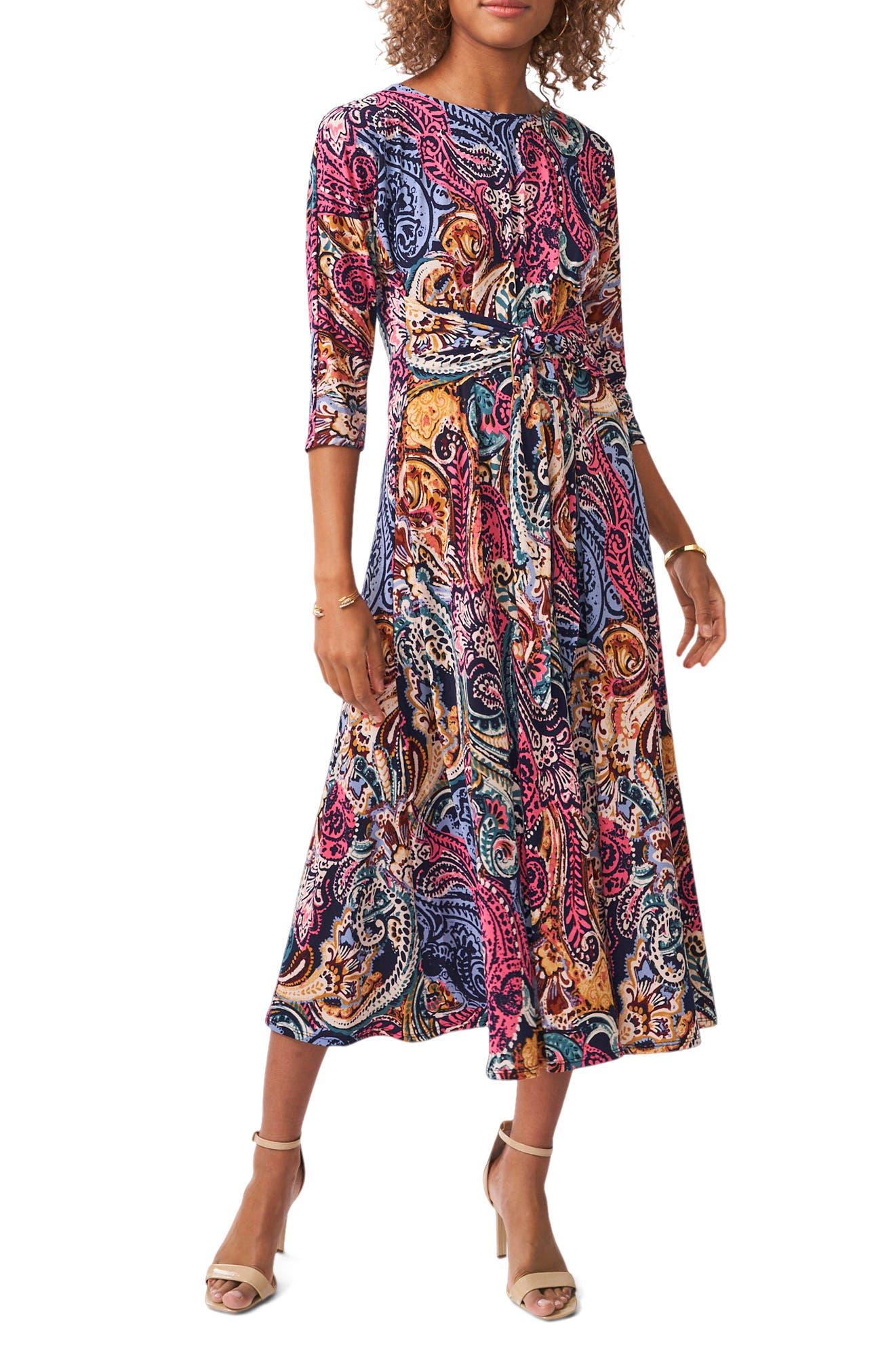 Paisley Print Fit & Flare Midi Dress