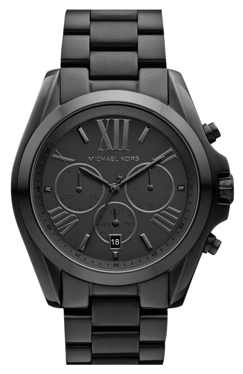MICHAEL KORS 'Bradshaw' Chronograph Bracelet Watch, 43mm, Main, color, BLACK