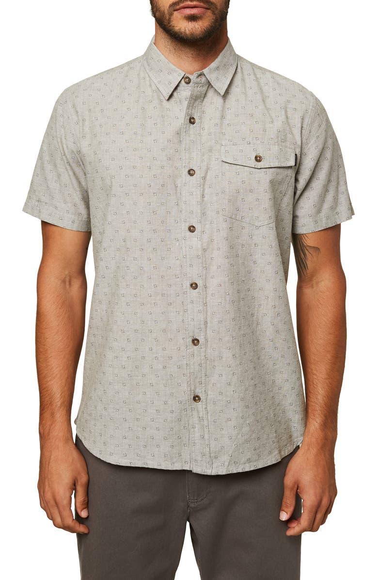 O'NEILL Modern Fit Short Sleeve Button-Up Chambray Shirt, Main, color, KHAKI