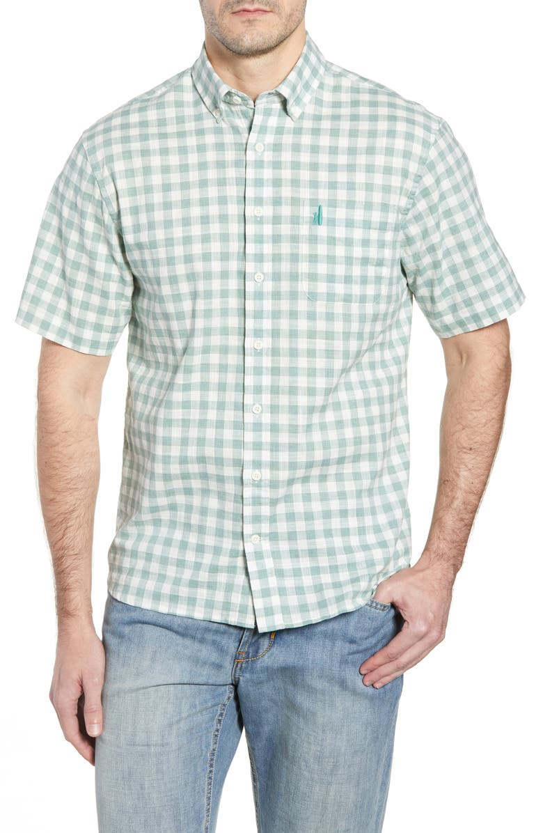 JOHNNIE-O Watts Classic Fit Gingham Shirt, Main, color, CLOVER