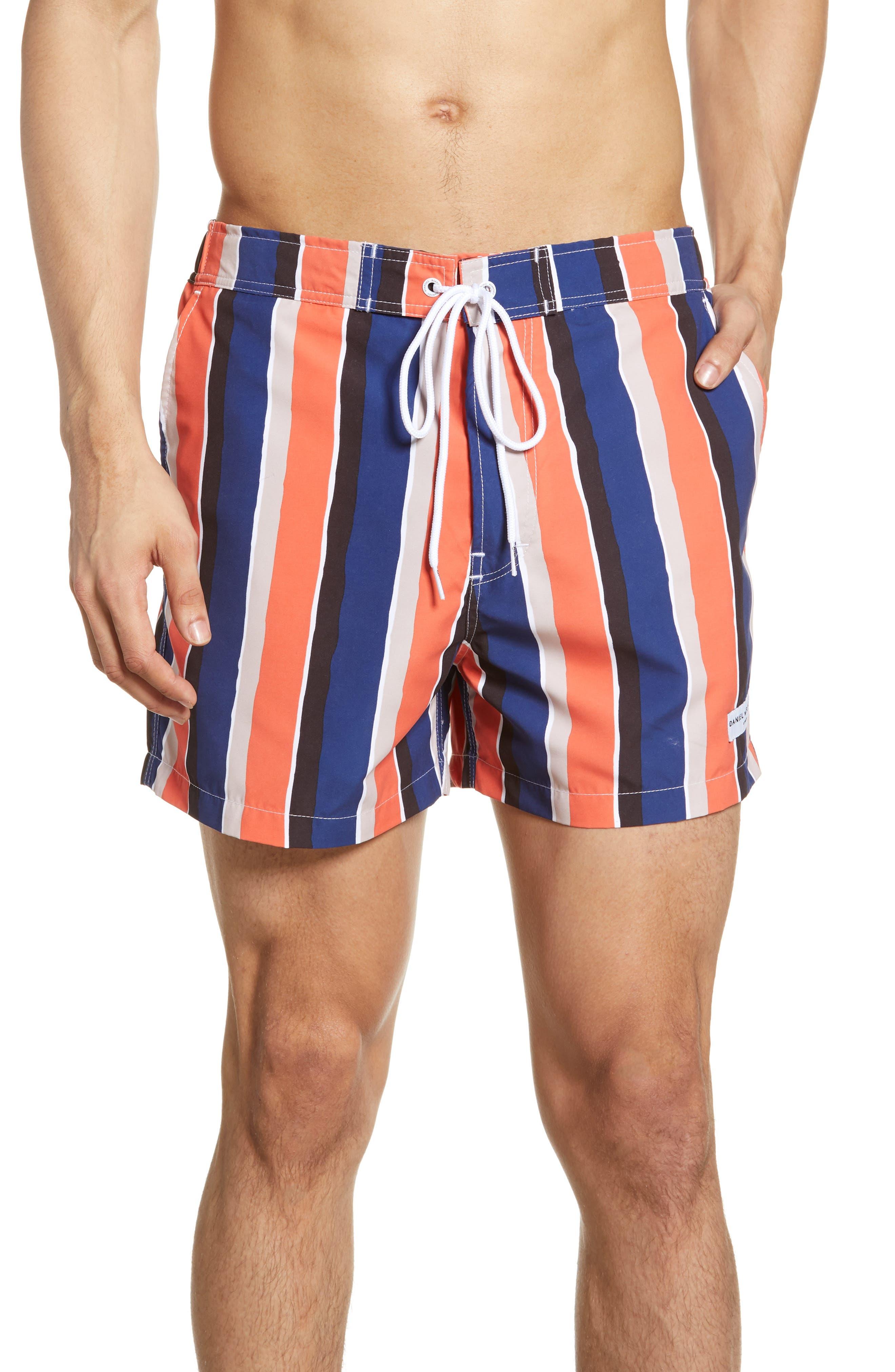 Boardies Wide Stripe Swim Trunks, Blue