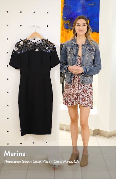 3D Floral Lace Yoke Sheath Dress, sales video thumbnail