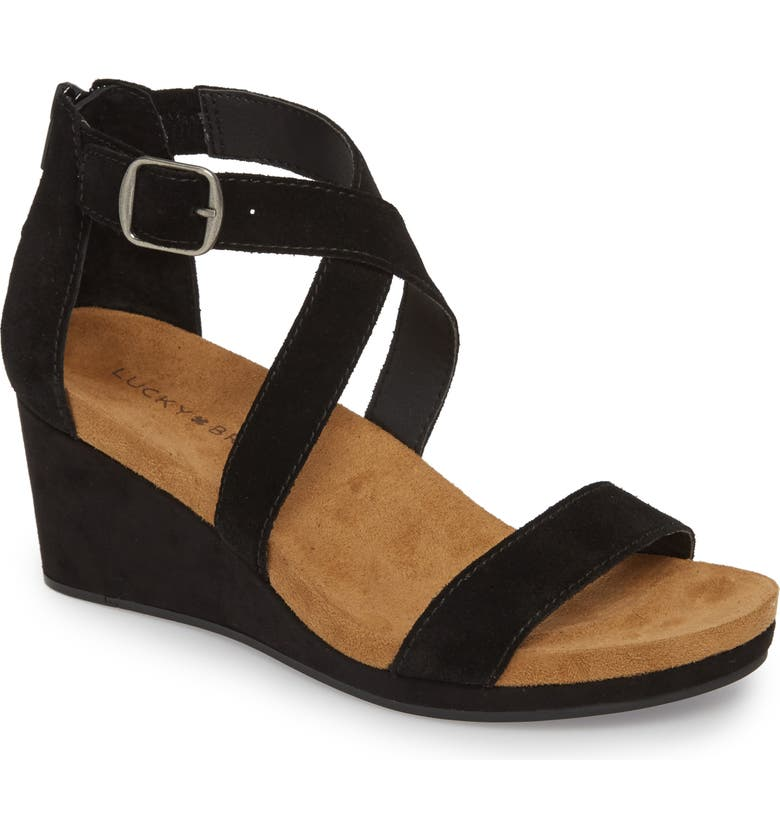 LUCKY BRAND Kenadee Wedge Sandal, Main, color, BLACK SUEDE