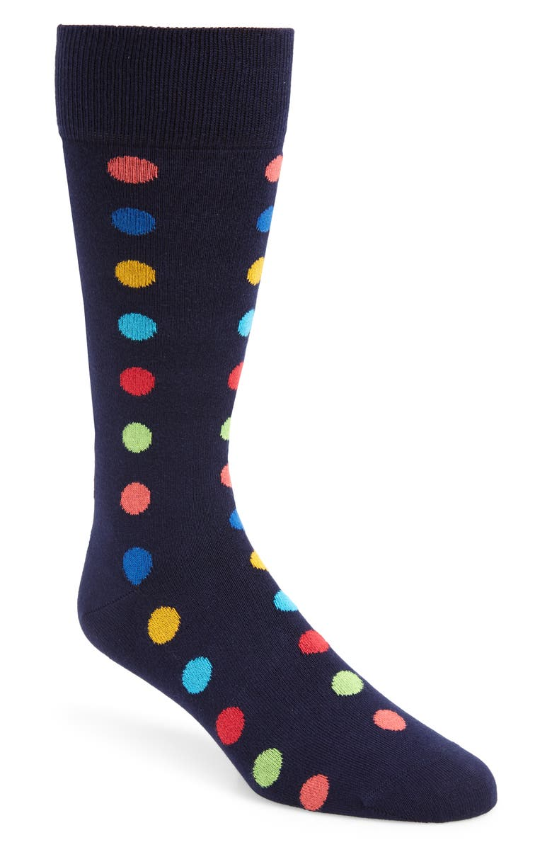 PAUL SMITH Dot Line Socks, Main, color, NAVY