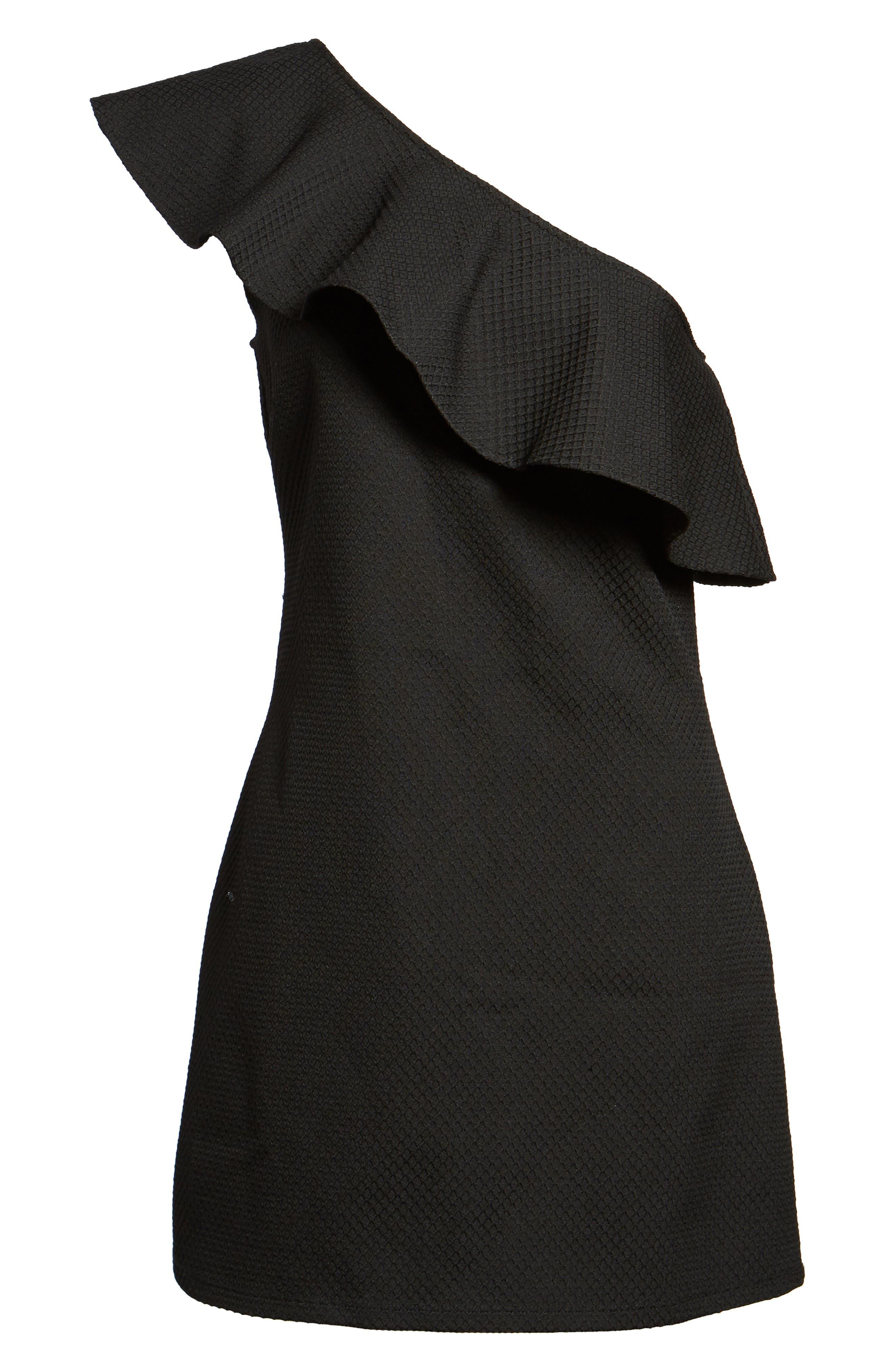 ,                             Ruffle One-Shoulder Dress,                             Alternate thumbnail 6, color,                             001