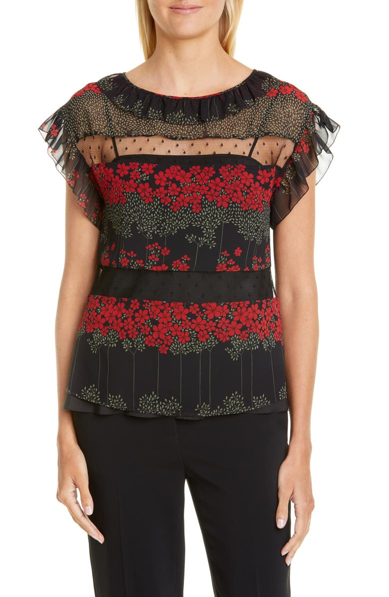RED VALENTINO Point d'Esprit Inset Dreaming Peony Print Blouse, Main, color, BLACK
