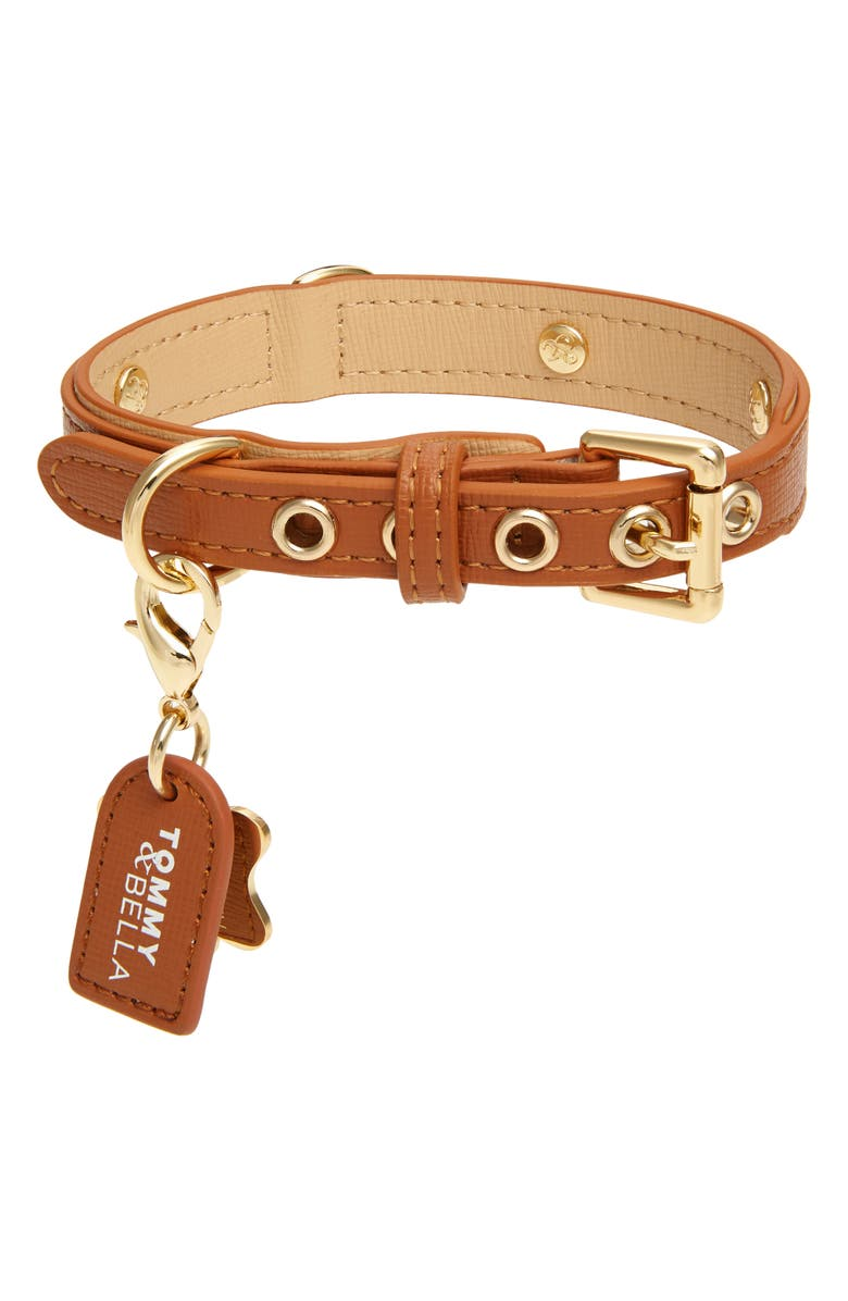 TOMMY AND BELLA Tommy & Bella Signature Collection Leather Dog Collar, Main, color, BROWN/ LIGHT BROWN TRIM