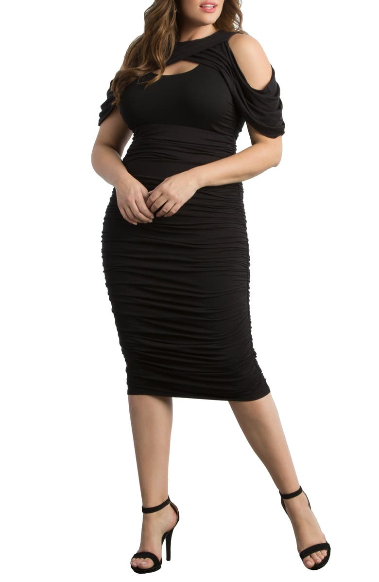 KIYONNA Bianca Ruched Body-Con Dress, Main, color, ONYX