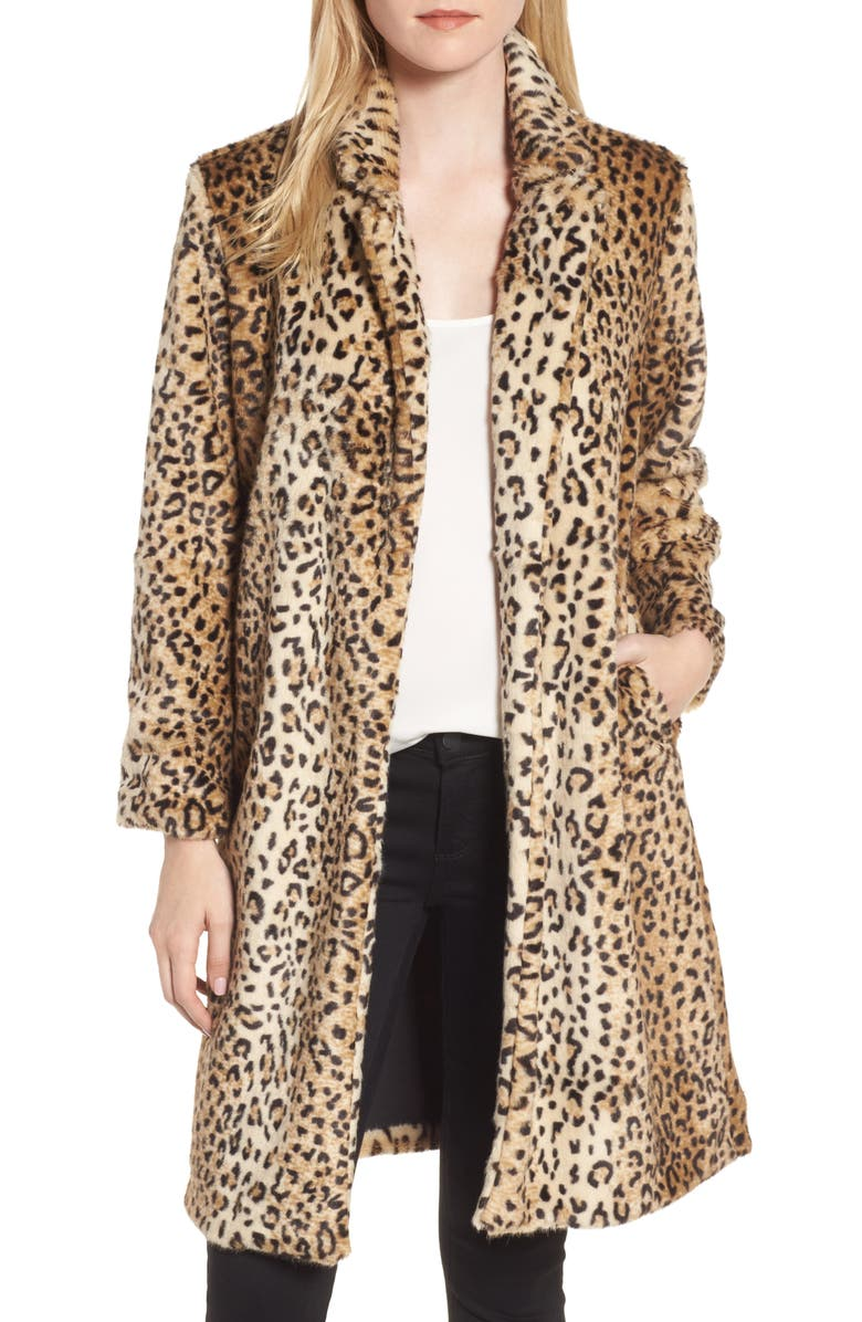 CHELSEA28 Leopard Print Faux Fur Jacket, Main, color, 250