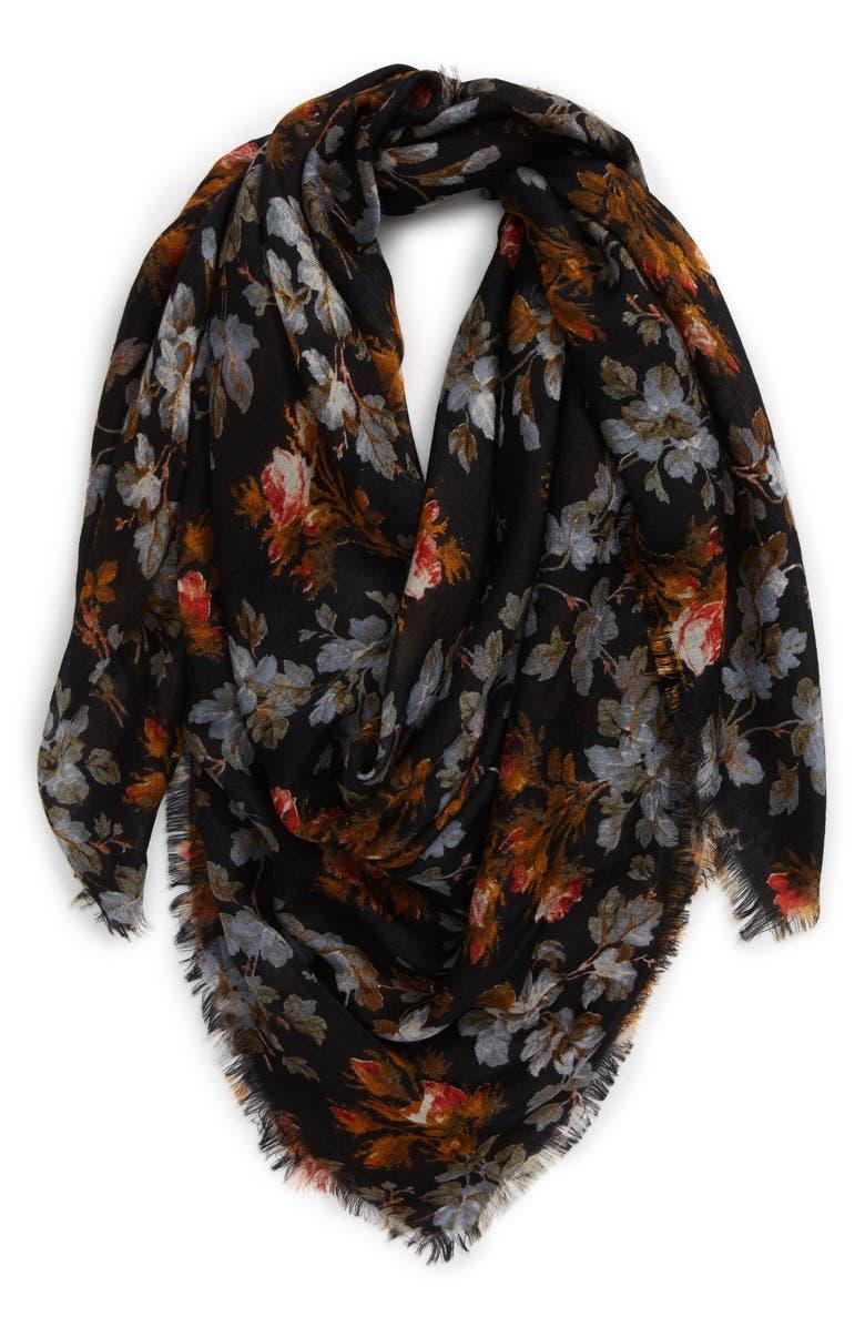 TREASURE & BOND Print Wool Scarf, Main, color, NAVY WILD ROSES PRINT