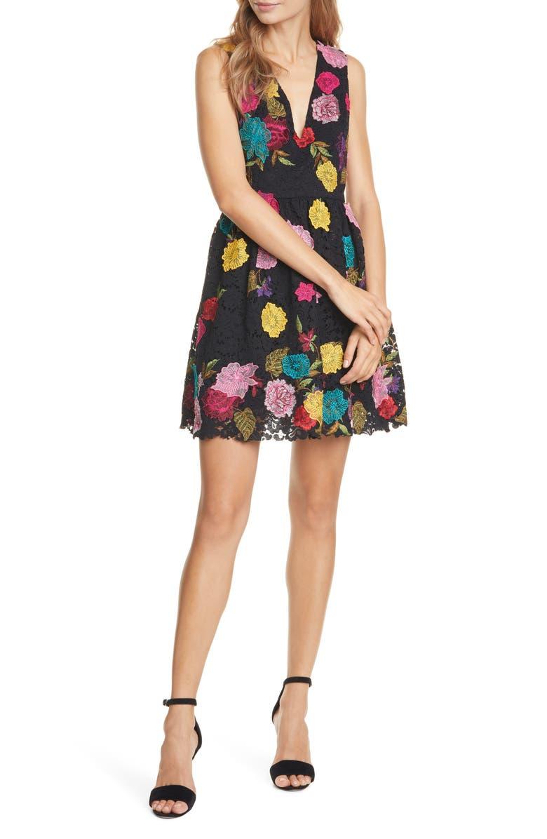 ALICE + OLIVIA Becca Embroidered Sleeveless Pouf Minidress, Main, color, BLACK/ MULTI