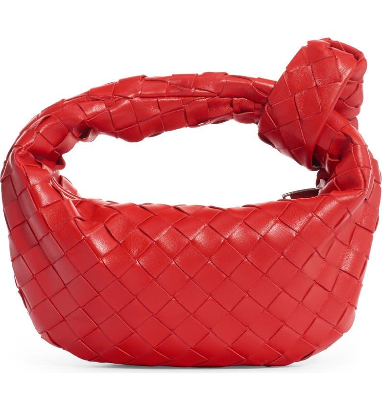 BOTTEGA VENETA Mini Intrecciato Leather Hobo Bag, Main, color, BRIGHT RED/ SILVER