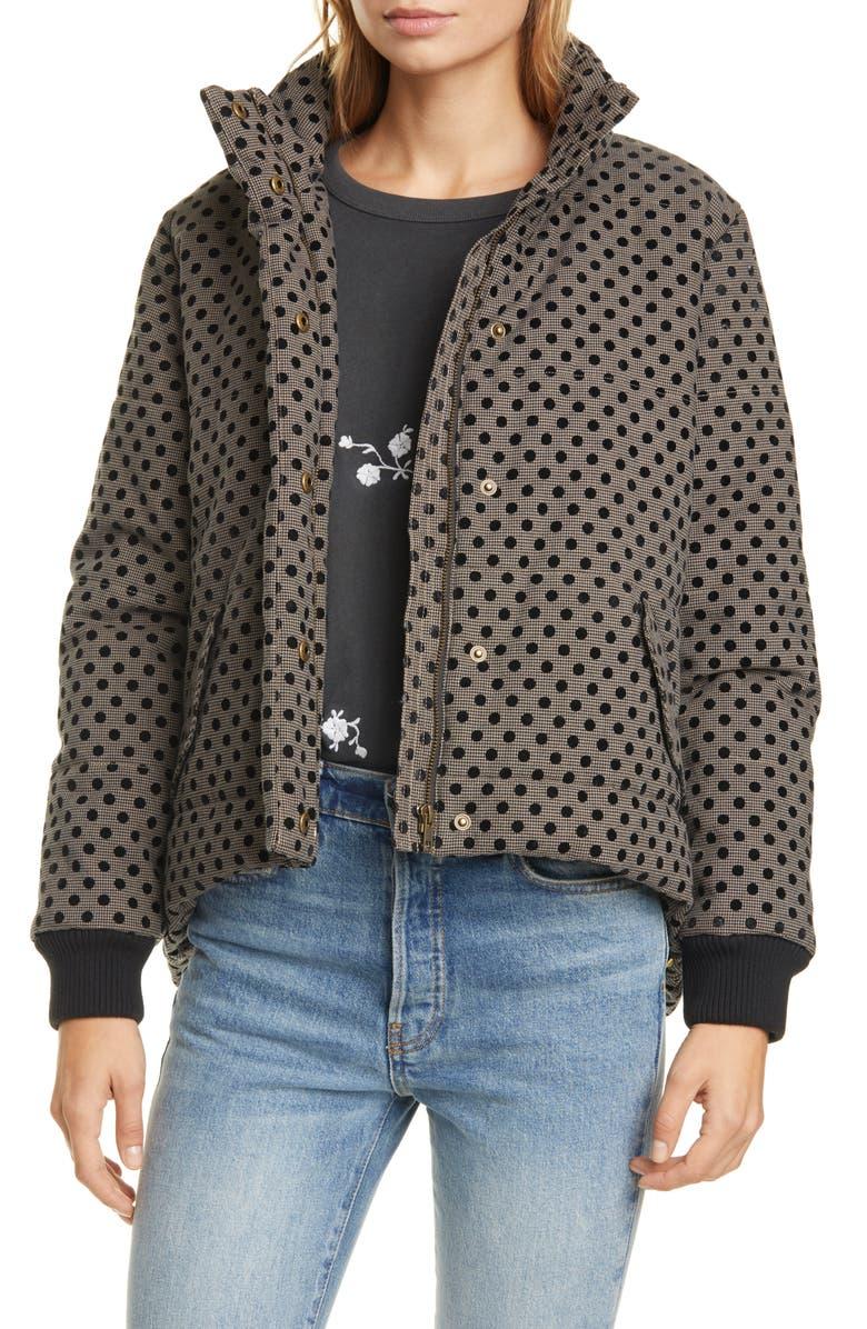 THE GREAT. Velvet Polka Dot Puffer Jacket, Main, color, CHECK FLOCKED DOT