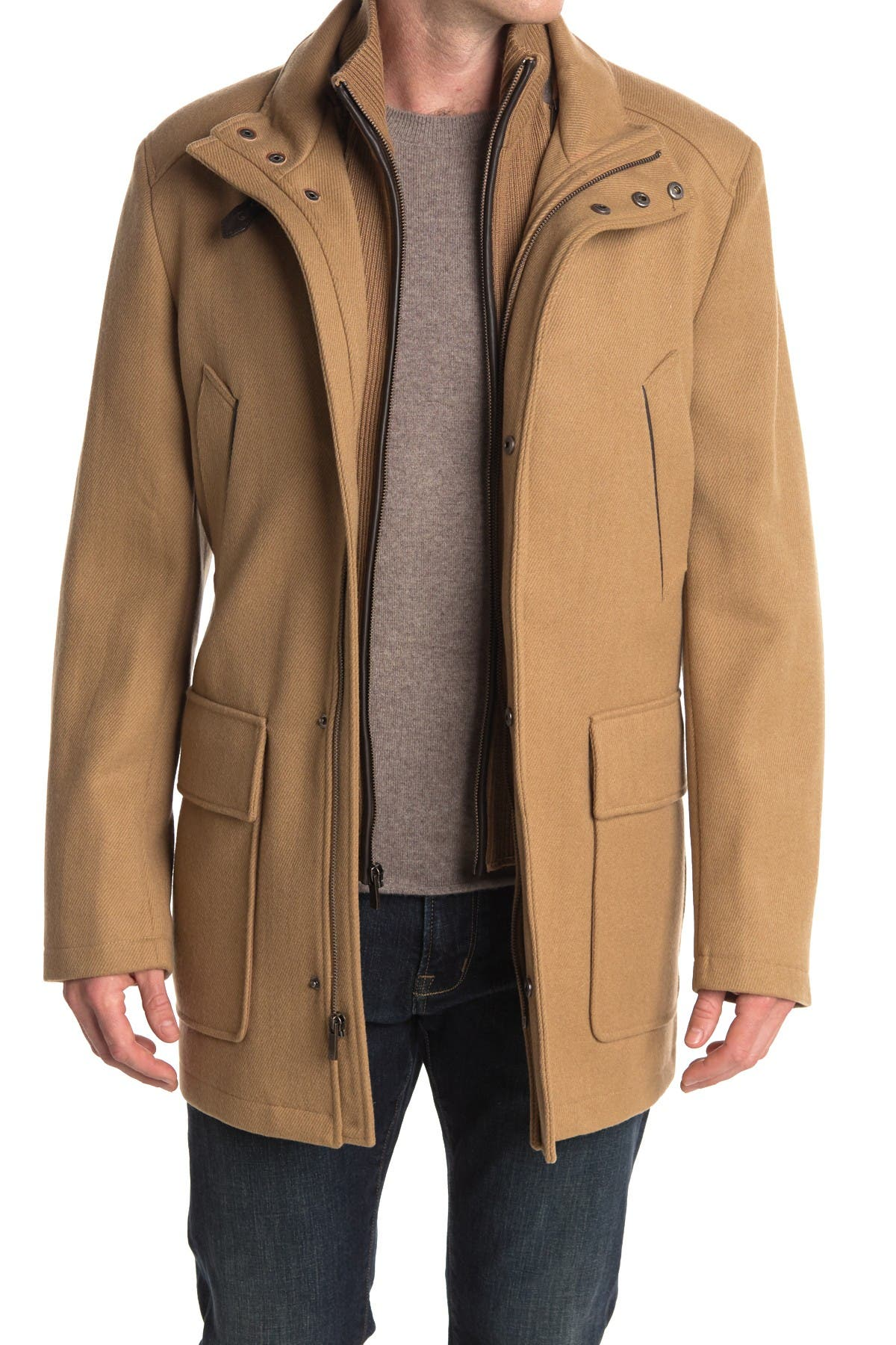 Image of Cole Haan Wool Blend Leather Trim Rib Knit Inset Coat